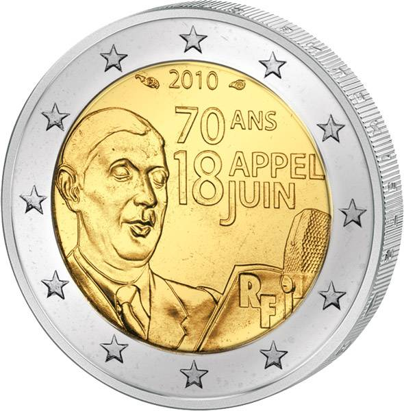 2 Euro Frankreich Charles de Gaulle 2010 prägefrisch