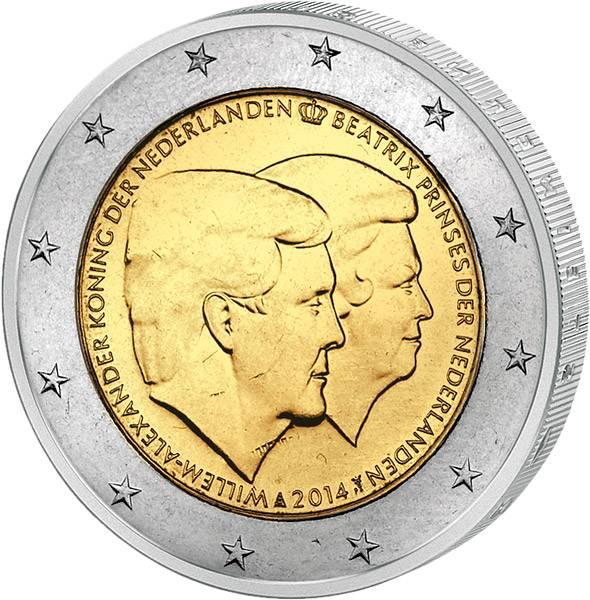 2 Euro Niederlande Doppelporträt Willem-Alexander und Beatrix 2014   prägefrisch