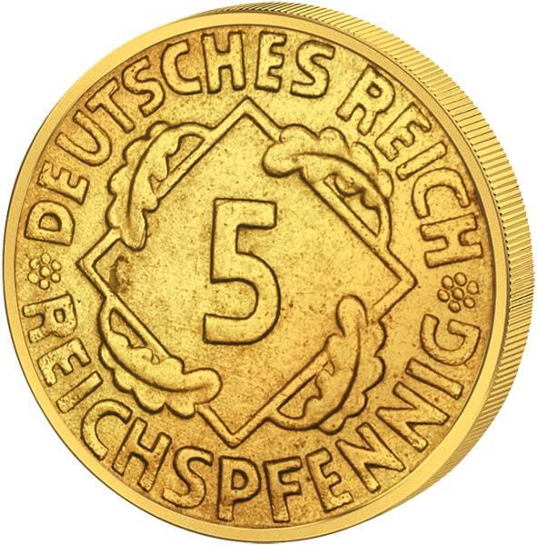 5 Pfennig Weimarer Republik Ähren 1924-1936 ss-vz