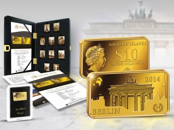 10 Dollars Goldbarren Salomonen Berlin Brandenburger Tor