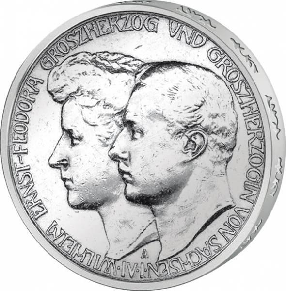 3 Mark Sachsen Weimar Eisenach Hochzeit 1910 Vorzüglich