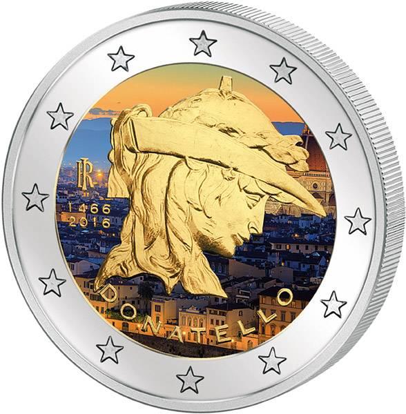 2 Euro Italien 550. Todestag von Donatello mit Farb-Applikation