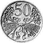 50 Haleru Böhmen/Mähren Ähren/Blumen 1940-1944 Sehr schön