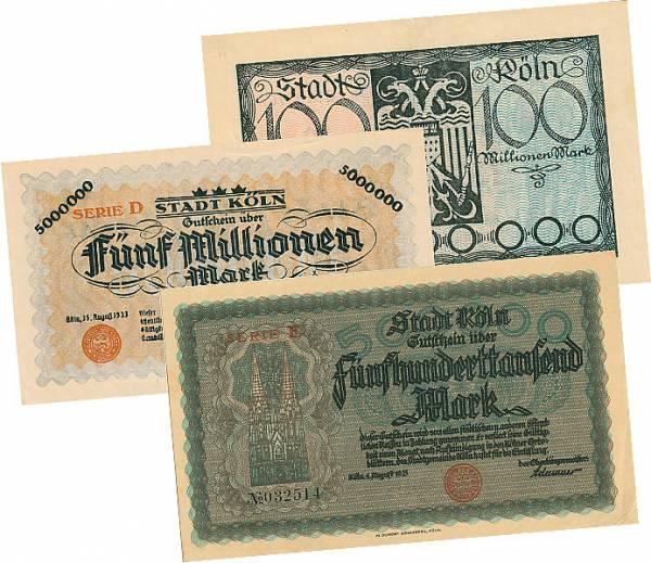 500.000 u. 5 Millionen u. 100 Millionen Mark Notgeldserie Köln