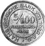 5/100 Verrechnungsmark Hansestadt Hamburg Löwenwappen o.J. Sehr schön