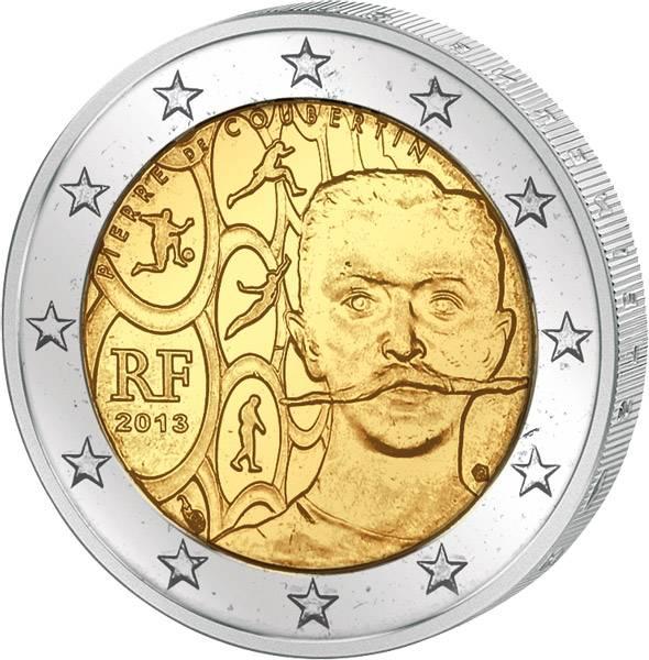 2 Euro Frankreich 150. Geburtstag Pierre de Coubertin 2013 prägefrisch