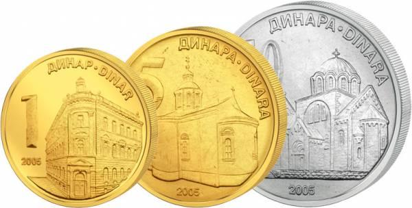 1 Dinar - 10 Dinar Kursmünzen Serbien Montenegro prägefrisch