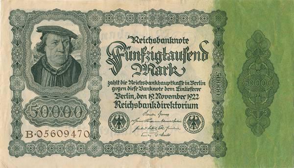 50.000 Mark Banknote Bürgermeisterschein