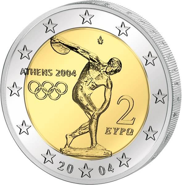 2 Euro Griechenland Olympische Spiele Athen 2004 prägefrisch