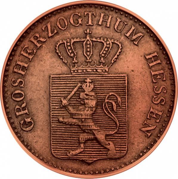 1 Pfennig Hessen-Darmstadt gekröntes Wappen 1857-1872 Sehr schön