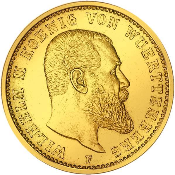 10 Mark Württemberg Wilhelm II. 1893-1913 Sehr schön