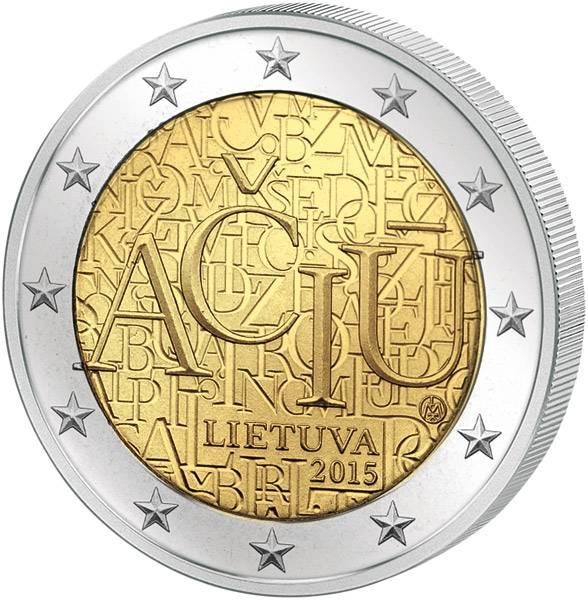 2 Euro Litauen Litauische Sprache 2015 prägefrisch