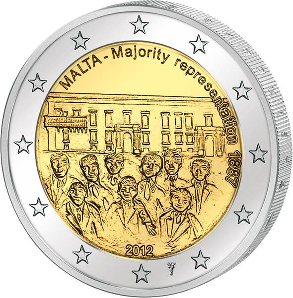 2 Euro Malta Mehrheitswahlrecht 2012  mit Münzzeichen prägefrisch