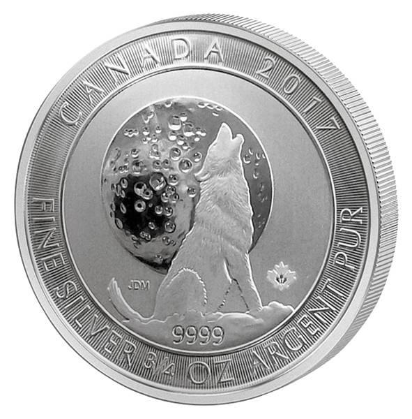 3/4 Unze Silber Kanada Wolf und Mond 2017