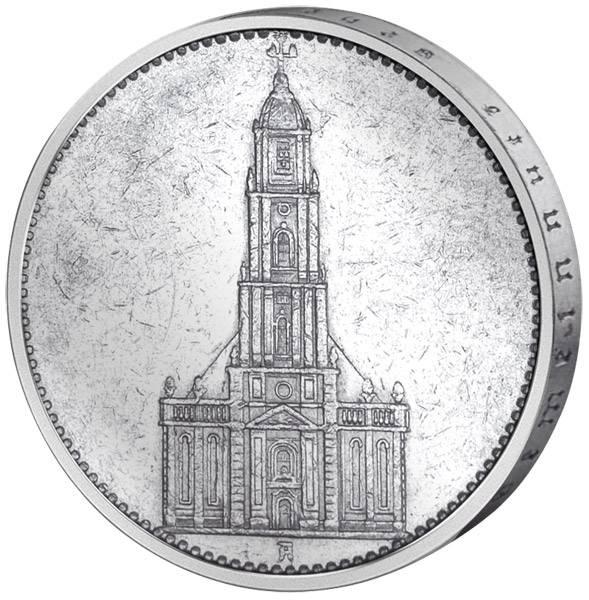 5 Reichsmark Drittes Reich Garnisonskirche Potsdam 1935 Sehr schön