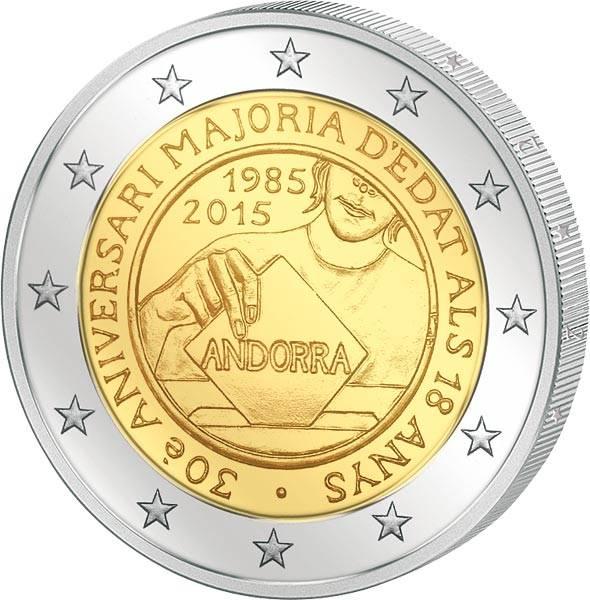 2 Euro Andorra 30 Jahre Volljährigkeit für 18-jährige