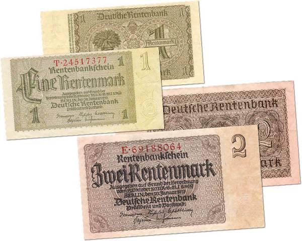 1 und 2 Rentenmark BRD Banknoten 1937 Zirkuliert