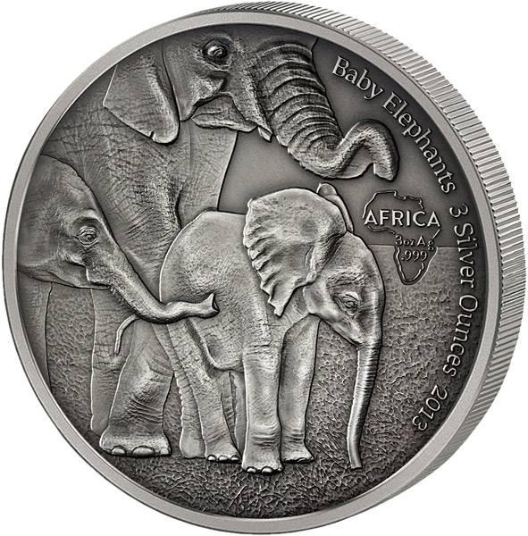 2.000 Francs Gabun Baby-Elefanten 2013 Antik-Finish