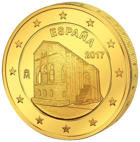 2 Euro Spanien Monumente von Oviedo und Fürstentum Asturien 2017 vollvergoldet