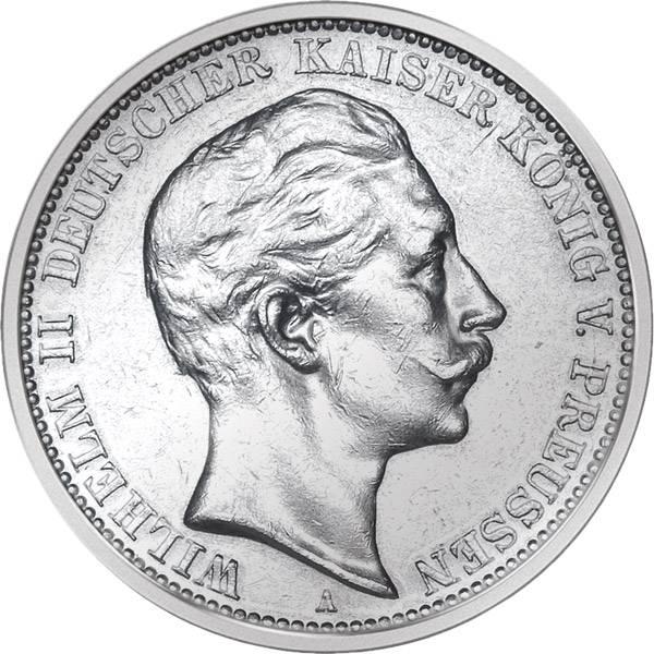 3 Mark Preußen Wilhelm II. 1908-1912 A Sehr schön