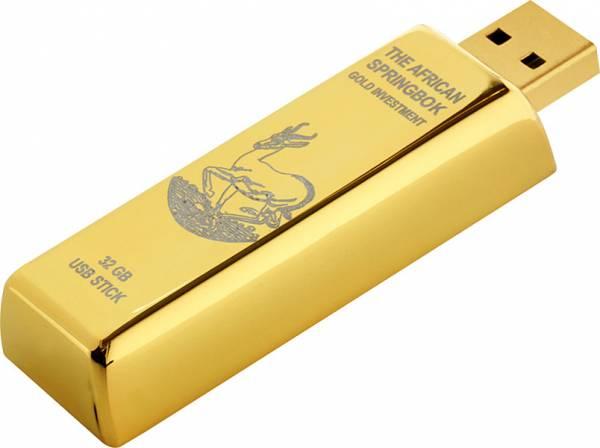 32 GB USB-Stick Goldbarren-Design mit Krügerrand-Motiv