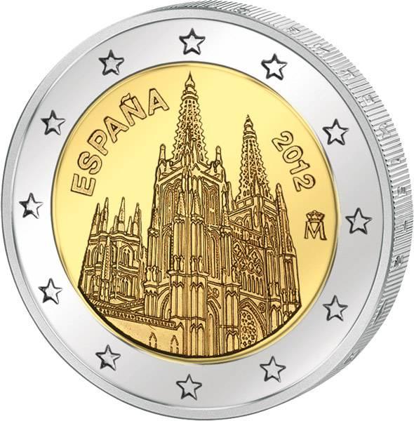 2 Euro Spanien Kathedrale von Burgos 2012 Stempelglanz