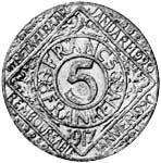 5 Francs Belgien Löwenwappen (Stadt Gent) 1917 Sehr schön