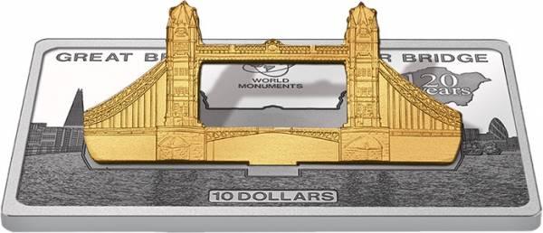 10 Dollars Cook-Inseln London Tower Bridge Polierte Platte
