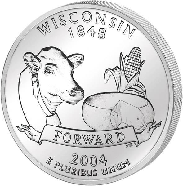 Quarter Dollar USA Wisconsin 2004