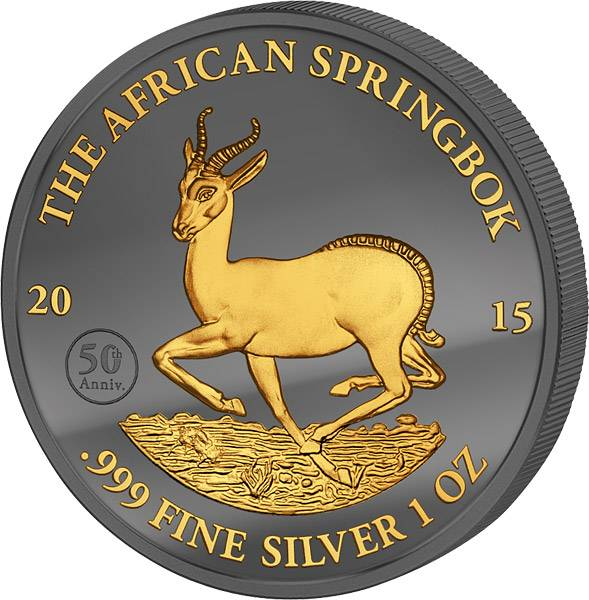 1 Unze Gabun Springbock Enigma 2015 Stempelglanz