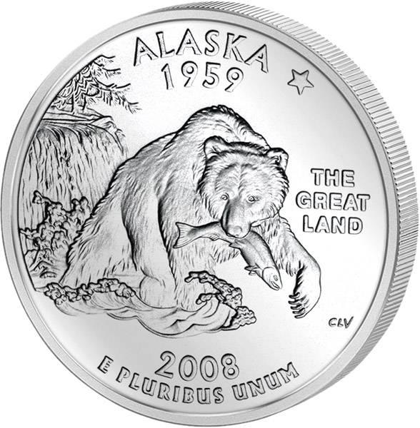Quarter Dollar USA Alaska 2008