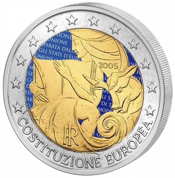 2 Euro Italien 1 Jahr Europäische Verfassung mit Farb-Applikation 2005