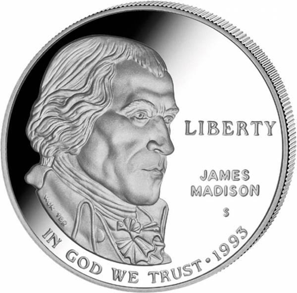 1 Dollar USA James Madison 1993   Polierte Platte (PP)