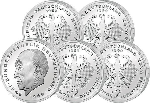 4 x 2 DM BRD Jahrgangssatz Adenauer 1969  ss-vz