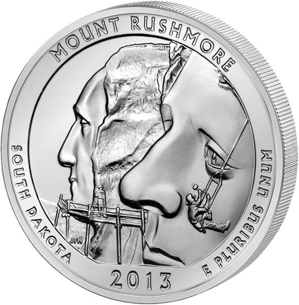 Quarter Dollar USA America the Beautiful South Dakota 2013 prägefrisch
