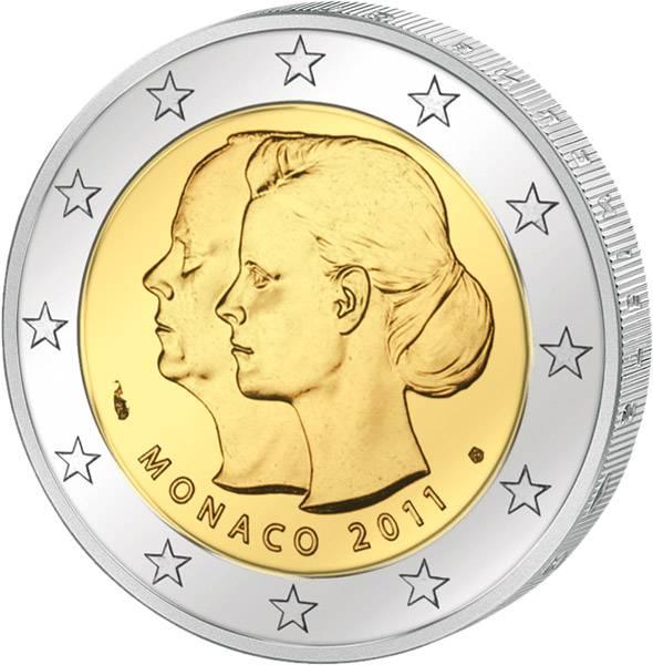 2 Euro Monaco Fürst Albert II. und Charlene Wittstock 2011 bankfrisch