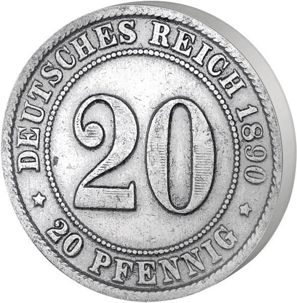 20 Pfennig Deutsches Kaiserreich großer Adler 1890-1892 Sehr schön