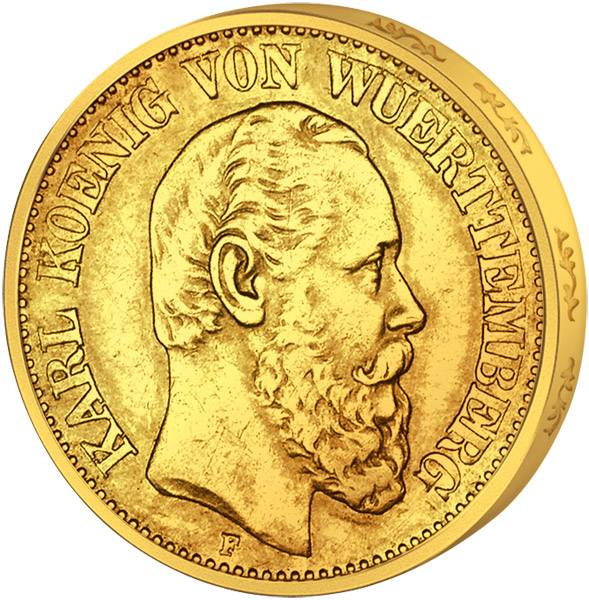 10 Mark Württemberg König Karl 1874-1888 Sehr schön