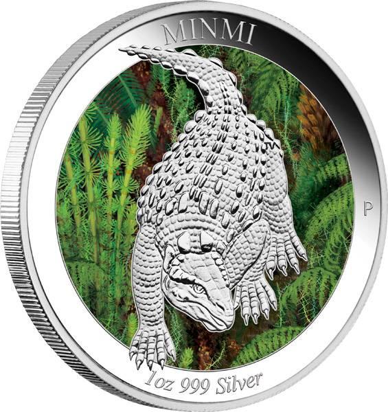 1 Dollar Australien Australische Dinosaurier Minmi 2015 Polierte Platte