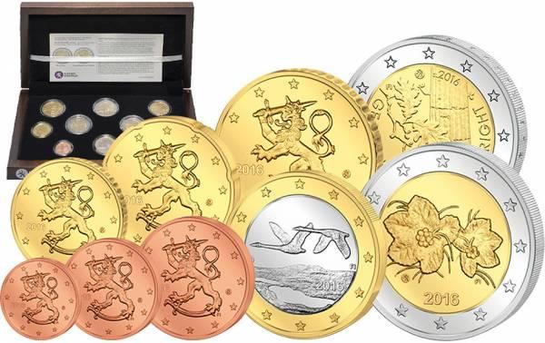 Euro-Kursmünzensatz Finnland 2016 + 2 x 2-Euro-Gedenkmünzen