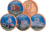 4 x 1 Cent USA Abraham Lincoln in Farbe