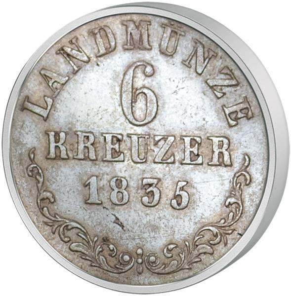 6 Kreuzer  Sachsen-Meiningen Herzog Bernhard II. Erich Freund 1831-1837  Sehr schön