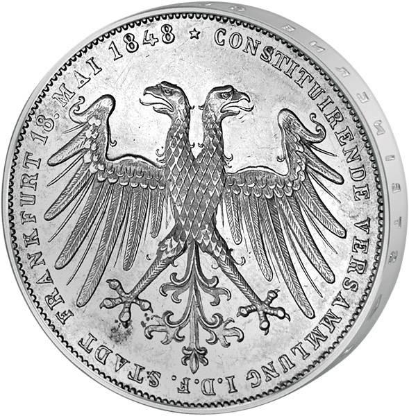 Taler Doppelgulden freie Reichsstadt Frankfurt Nationalversammlung 1848  ss-vz