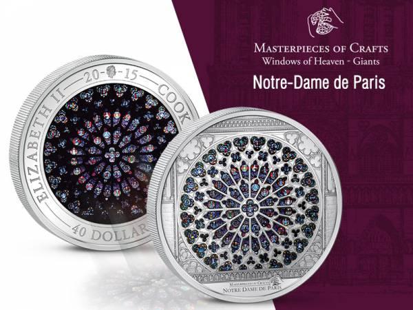 40 Dollars Cook-Inseln Notre Dame de Paris Fensterrose der Südfassade 2015 Prooflike (PL)