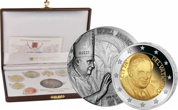 1 Cent-2 Euro (8 Werte) Briefmarke 0,75 Euro Euro-Kursmünzensatz Vatikan inkl Gedenkmedaille Ersttags-Edition 2011 Polierte Platte