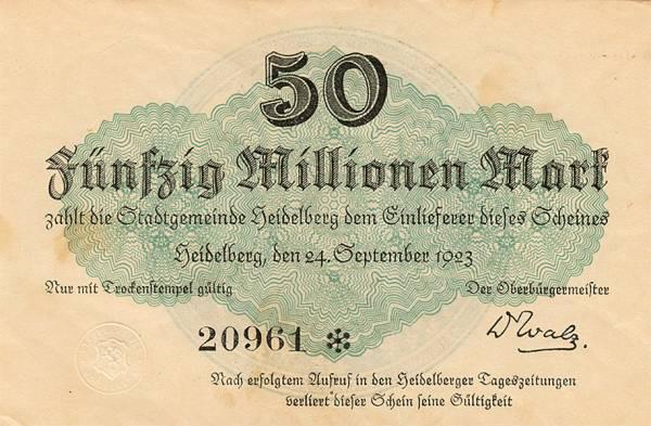 50 Millionen Mark Banknote Heidelberg