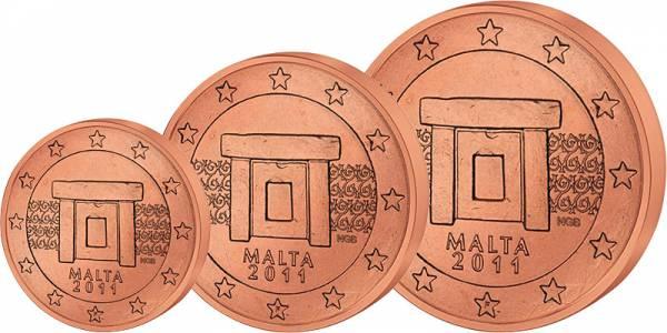 1 u. 2 u. 5 Euro-Cents Malta J.u.W. vz-st