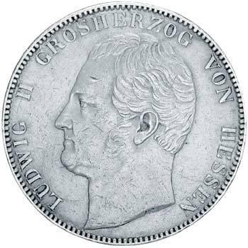 Doppeltaler Silber Ludwig II. von Hessen 1839-42 ss-vz