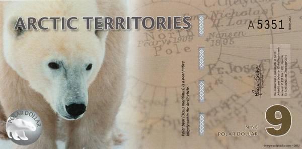 9 Dollars Arktische Territorien Polymer-Banknote Polarbär 2012