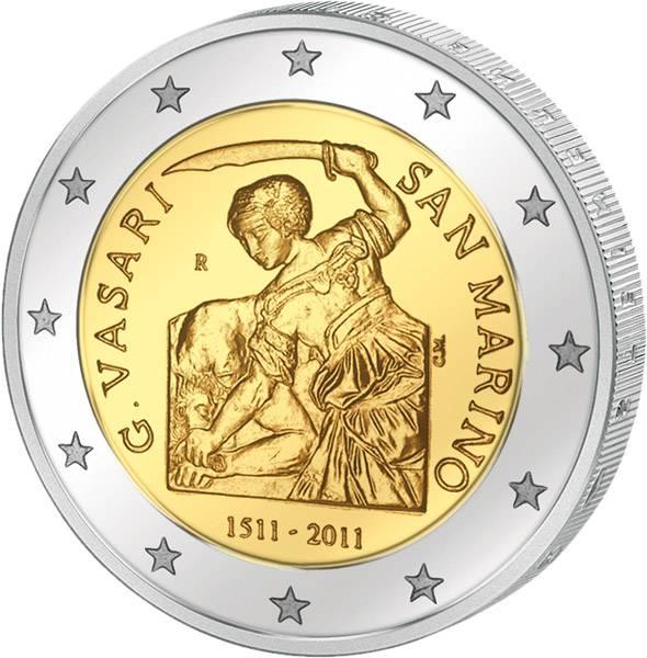 2 Euro San Marino 500. Geburtstag von Giorgio Vasari 2011 prägefrisch